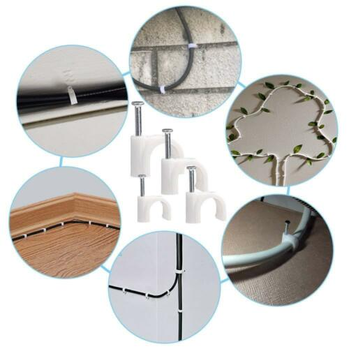 Pack of Plastic Round Electrical Wire Cable Clips TV Phone Internet Lead Fixings