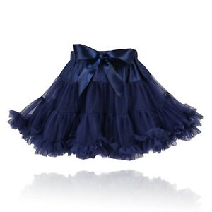 33fc2e1753 Girls Navy Blue Classic Soft Fluffy Full Nylon Pettiskirt Tutu Party ...