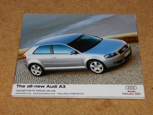 """10/""""x8/"""" February 2003 silver AUDI A3 ORIGINAL PRESS PHOTO UK"""