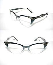 Women's Cat Eye 50s Vintage Eye Glasses Black Clear gold Rhinestone small Pin Up