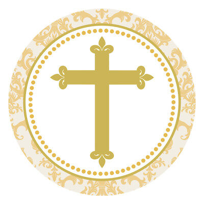 Gold Christening Communion Party Favor Cross Emblems Religious Embellishments