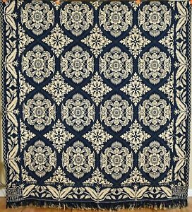 """Wool Double Weave Jacquard Antique """"Union"""" Coverlet, Signed & Dated """"1843!"""""""