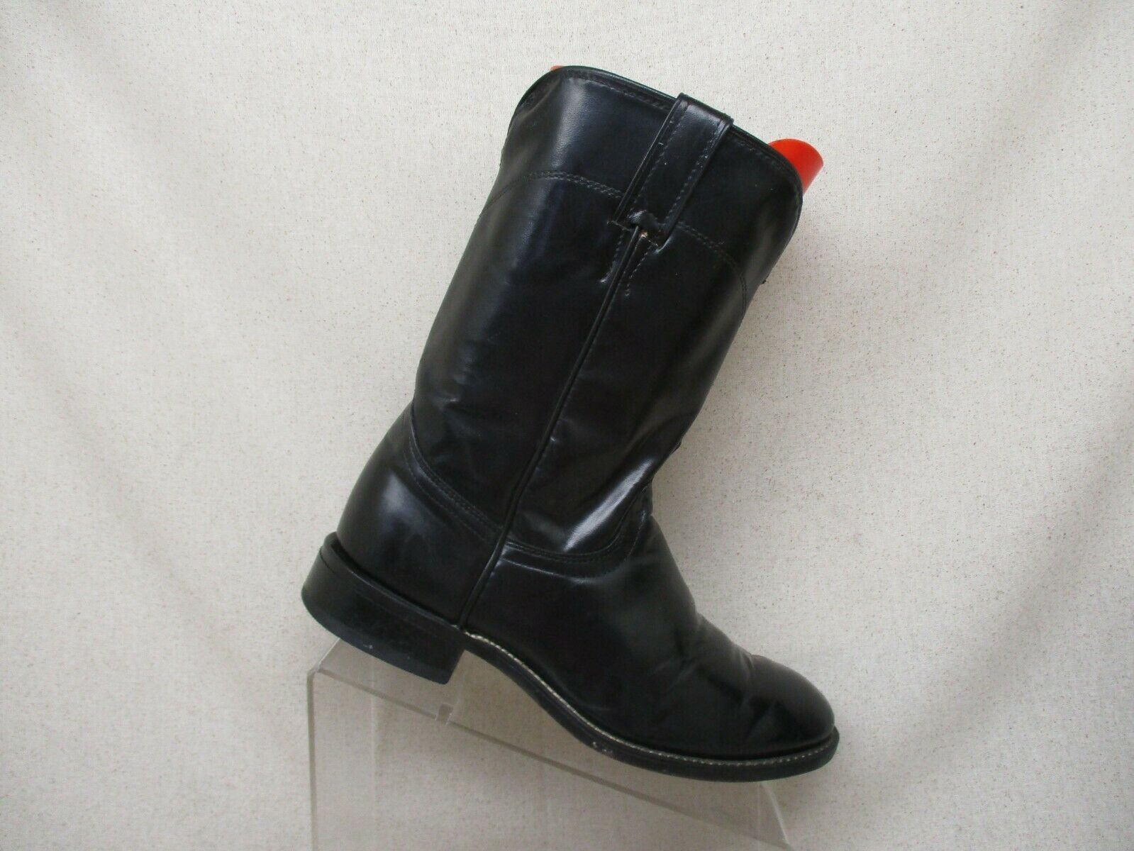 Laredo Black Leather Roper Cowboy Western Boots Mens Size 7.5 EE Style 7902