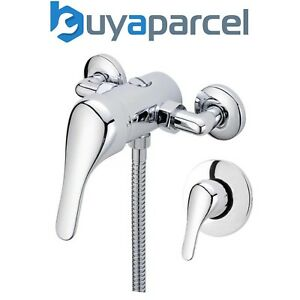 Chrome Single Lever Shower Mixer Valve Exposed Concealed -150mm Pipe Replacement