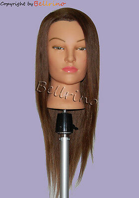 "*USA SELLER* 24"" Cosmetology Mannequin Head 100% HUMAN Hair #4 Color QQ"