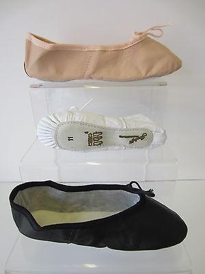 Unisex Leder Ballett Schuhe weiß/schwarz/lachsfarben pink UK 5 Kleinkind 11