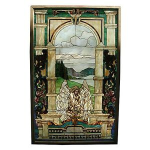 Stained Glass Window With Angel #5839 Antiques