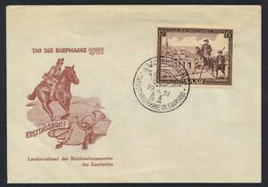 GERMAN-SAAR-1951-FDC-Mi-305-Sc-227-APR-29-1951