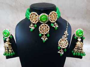 Gold-Tone-Choker-Kundan-Green-Beaded-Necklace-Earring-Bollywood-Jewelry-Sets
