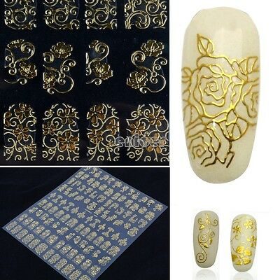 108PCS Oro 3D Flor uñas Arte Adhesivas Pegatinas stickers Decoración Nail Art