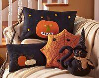 (1) Embroidered Jack-o-lantern Pumpkin Pillow Country Black 17x4x10.5