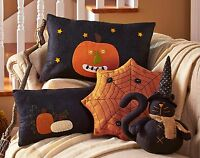 (1) Embroidered Jack-o-lantern Pumpkin Pillow Country Black 17x4x10.5