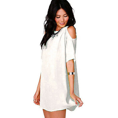 2016 Women Plus Size Chiffon Short Sleeve Baggy T Shirt Tops Blouse Mini Dresses