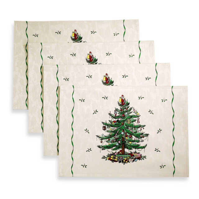Spode Christmas Tree Placemat, Set of 4, New, Sale! Free Shipping - Spode Christmas Tree Fabric Placemats Set Of 4 EBay