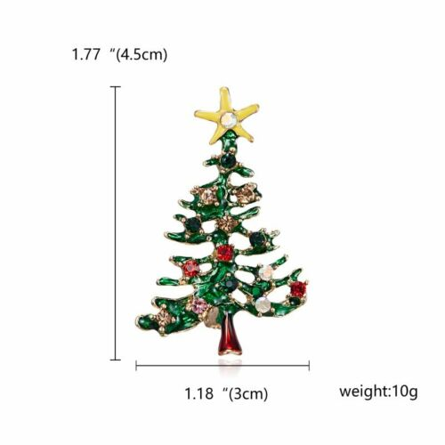 2020 Christmas Tree Crystal Brooch Pin Costume Women Men Xmas Party Jewellery