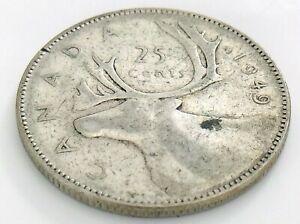 1949-Canada-Twenty-Five-25-Cent-Quarter-Circulated-Canadian-George-VI-Coin-J537