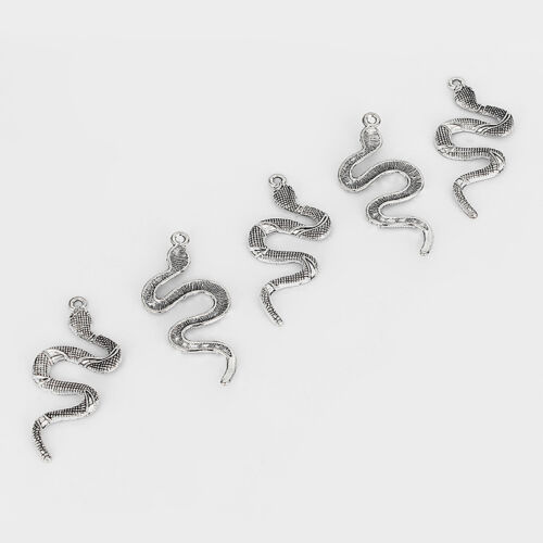 10 pcs Antique Silver Snake Charms Pendants Jewelry Findings