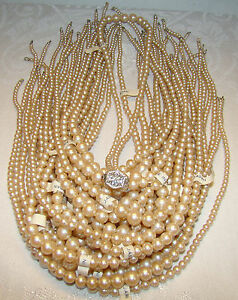 24 NOS Faux Strung Pearls JAPAN Ready for Easy Install Clasp + 1 GWP Necklace