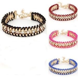 Damen-Multilayer-Metall-Armband-Strass-Glitzer-Bracelet-Armschmuck-Geschenk-WOW