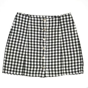 Pare Basic Womens Black and White Check Button Up High Waisted Skirt Size 10