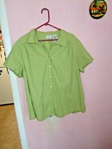 WHITE-STAG-WOMEN-039-S-PLUS-SZ-3X-BUTTON-DOWN-BLOUSE-GREEN-EMBROIDERED-STYLE-S-S-COT