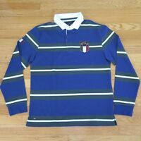 Original Rugby Polo Shirt Eden Park Italy Team Edition Blue Green Stripes S-m-xl