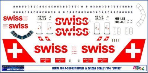 1:144 PAS-Decals #320-21 Airbus A320 SWISS Zvezda kit decal for Revell