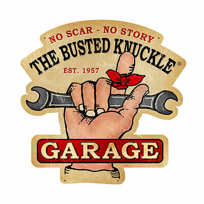 Busted Knuckle Garage Wrench 1957 Werkstatt Vintage Sign Blechschild Schild Groß