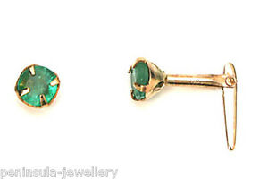9ct-Gold-3-5mm-Emerald-Andralok-Studs-Earrings-Gift-Boxed