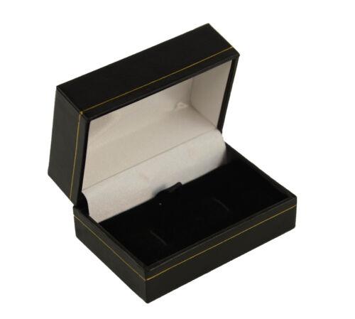 Joyeros 1 X Negro Cuero Sintético Joyería Gemelos Caja-Joyeros suministros de caja