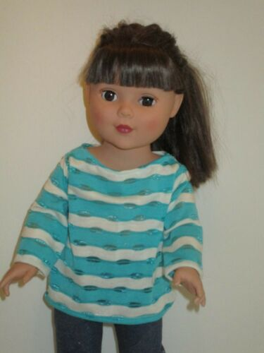 """Turquoise//White Stripe Knit Sweater for 18/"""" Doll Clothes American Girl"""