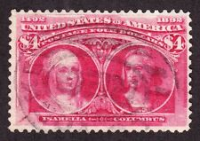 US 244 $4 Columbian Exposition Used VF SCV $1050