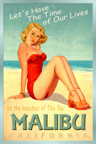 MALIBU California New Original Beach Poster Pacific PinUp Hot Girl Art Print 241