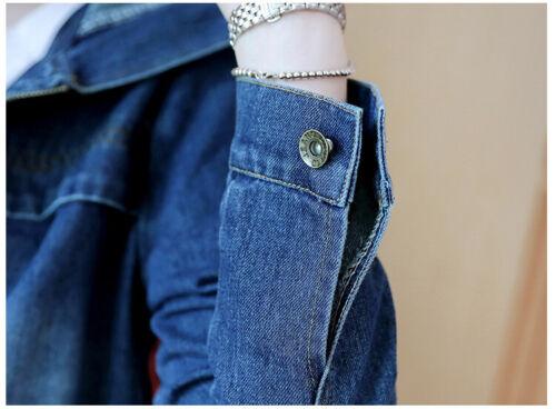 Plus Size Womens Denim Casual Jeans Jacket Pocket Zip Coat Hooded Long Size 6-20