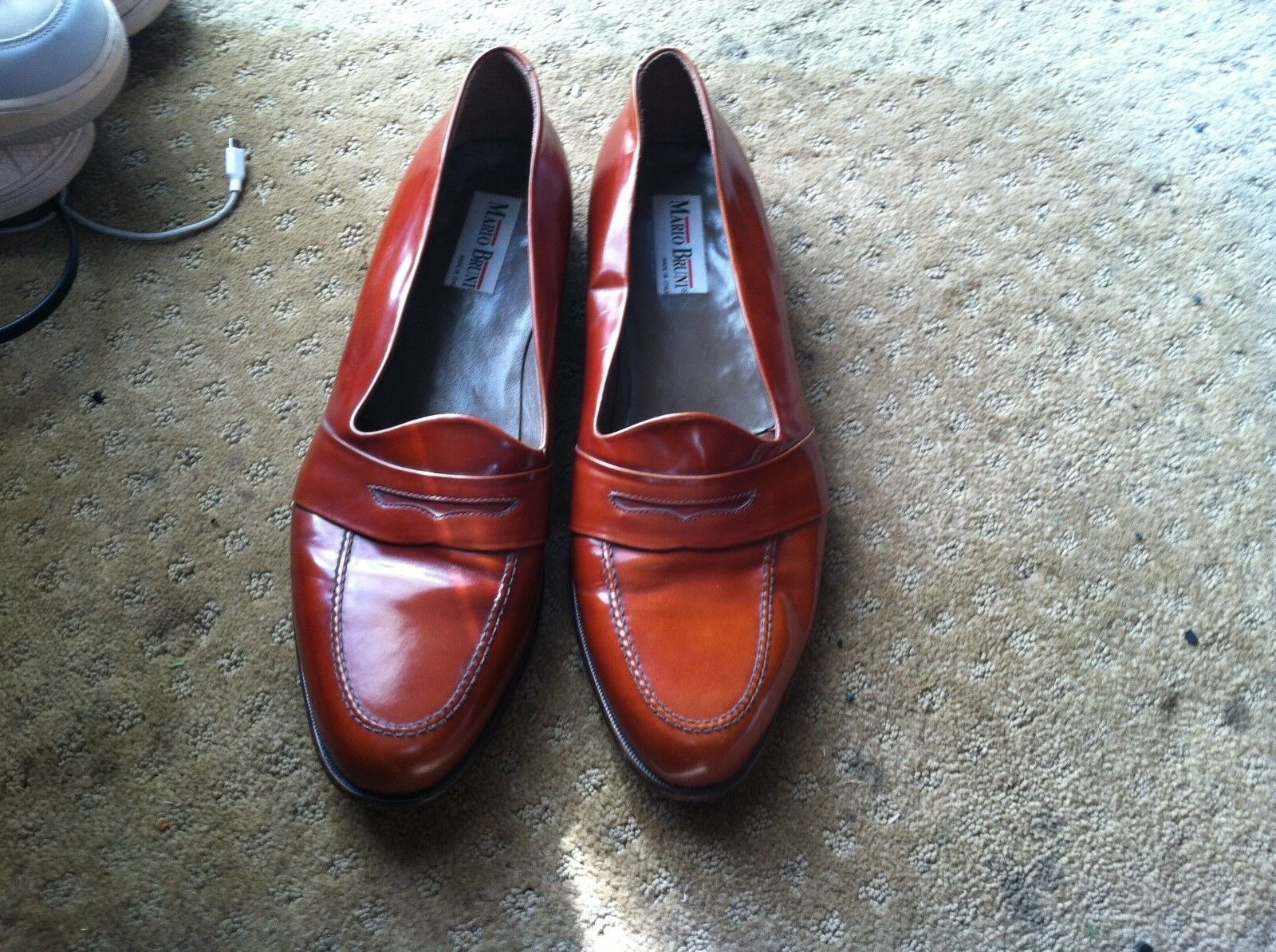 Mario Bruni Men's Brown Leather Dress Loafers-Size 16M
