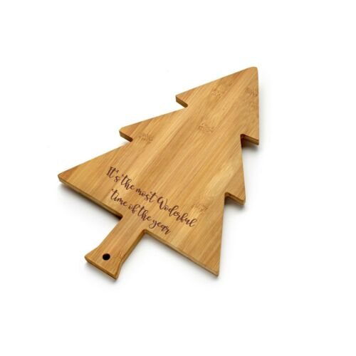 add message Personalised Christmas Tree Bamboo Chopping Board Cheeseboard