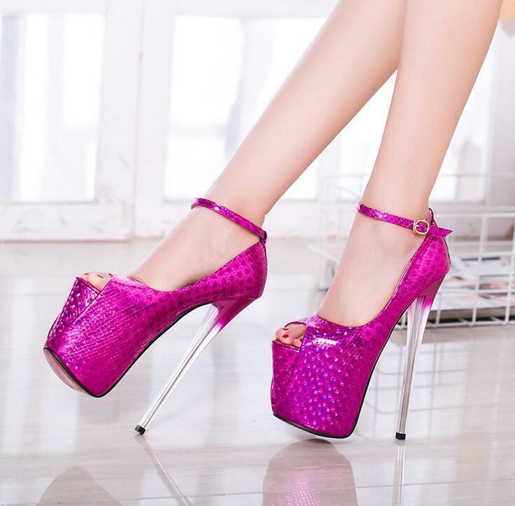 Chic Womens Sexy Peep Toe Clear Pumps High Heels Evening Party Shoes Ankle Strap