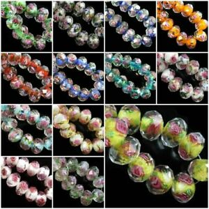 6x8mm 8x10mm 6pcs Pink Flower Inside Rondelle Faceted Loose Lampwork Exquisite Crystal Glass Beads