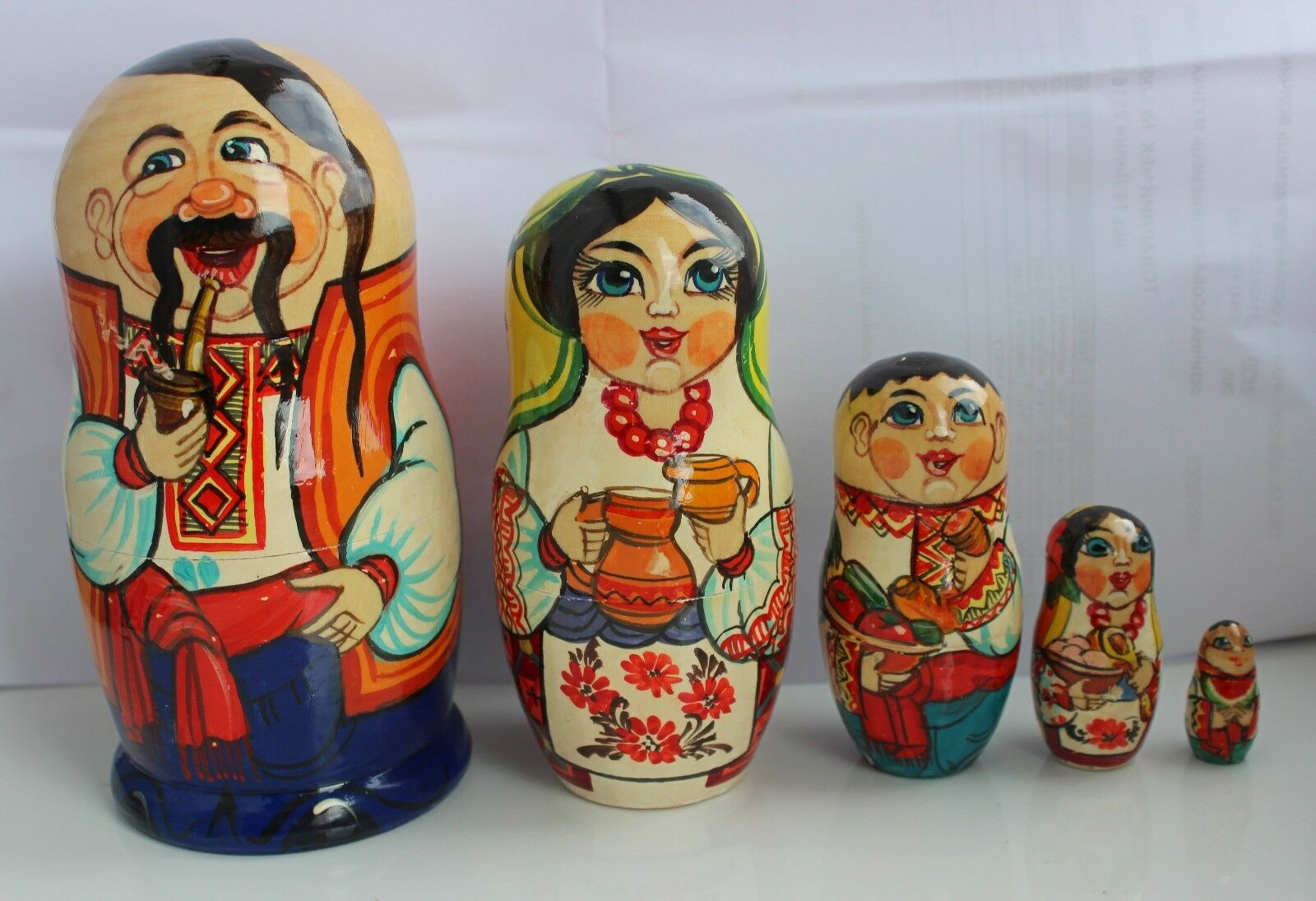 Ukraine Nesting dolls h=14 cm Matryoshka 5pc Ukrainians hand souvenir