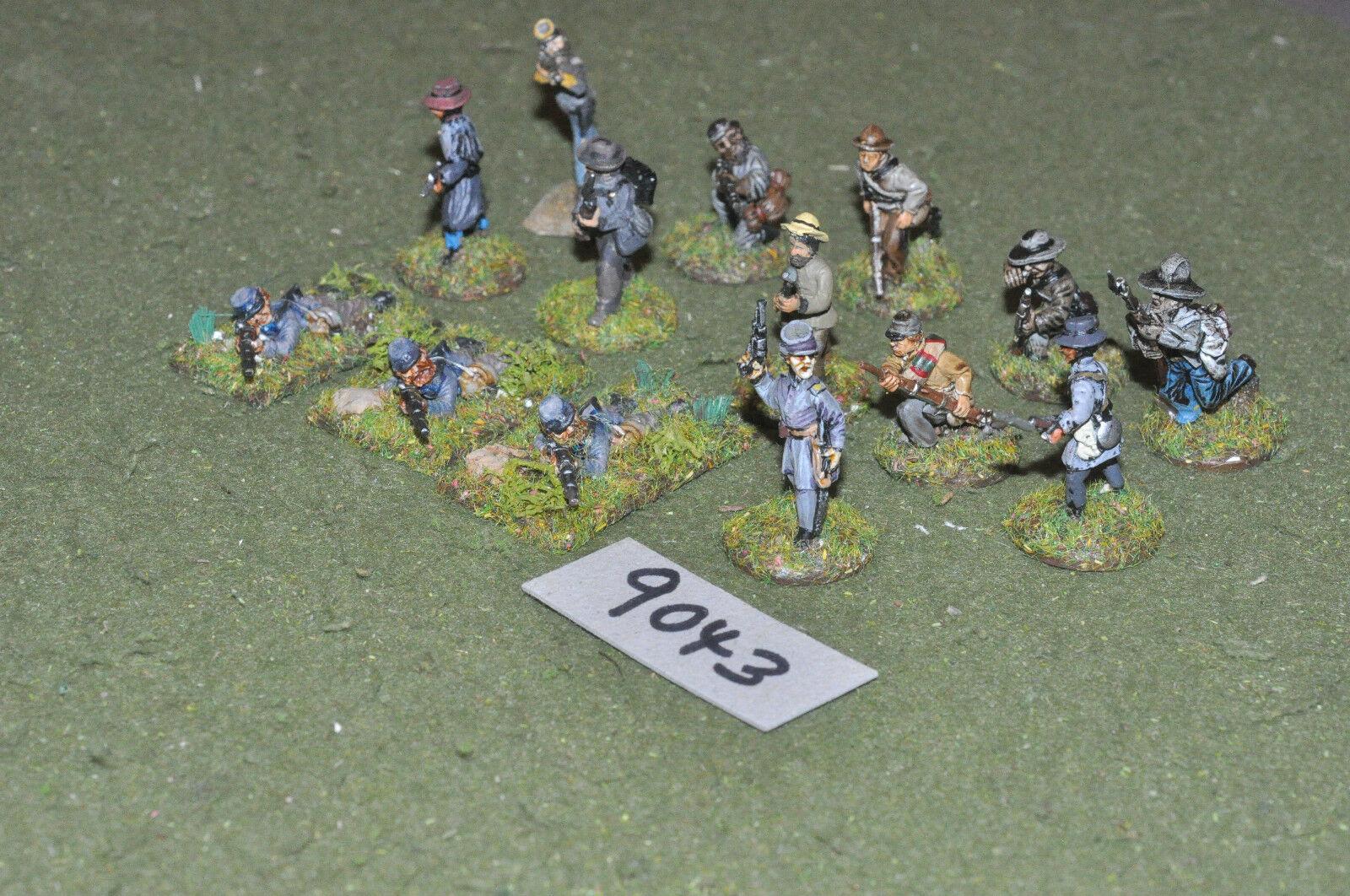 25mm ACW   confederate - civil war 14 skirmishers figs metal - inf (9043)