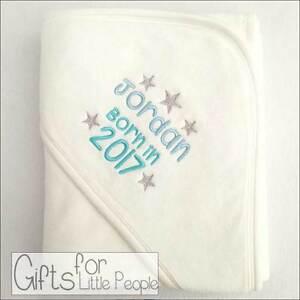 Personalised baby hooded towel boys born in 2017 new baby gift image is loading personalised baby hooded towel boys born in 2017 negle Gallery