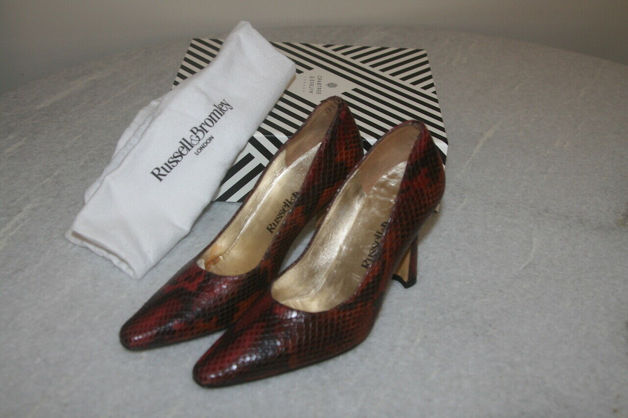 Russell & Bromley London BNWOB Women's Vintage Leather Court Shoes Size UK 3.5