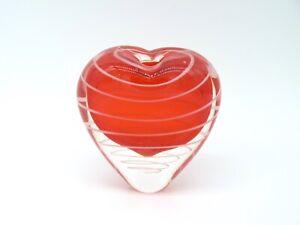 Red White Swirl Murano Glass Heart Bud Vase
