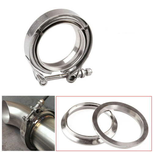 """3Pcs 3.5/"""" 304 Stainless Steel Exhaust V Band Clamp Flange Kit Male Female Design"""
