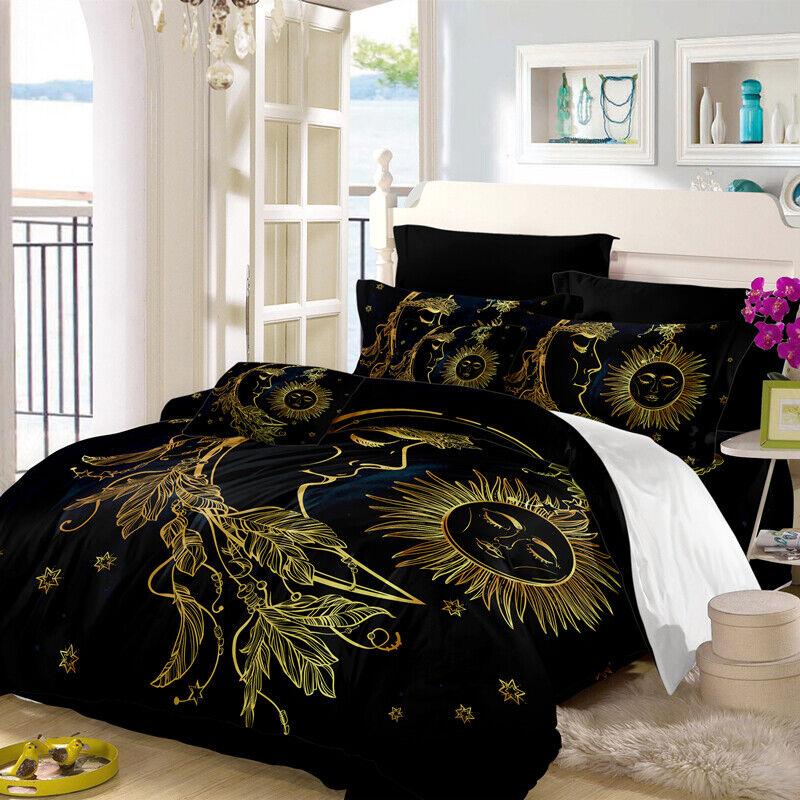 3D Dark gold Moon Sun Bedding Set Duvet Cover Comforter Cover Pillow Case
