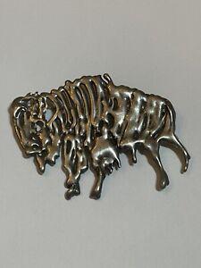Buffalo Brooch or Pendant in Bronze