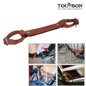 Tourbon Bike Carry Handle Grip Frame Lifter Portaging Tube Mount Strap Leather