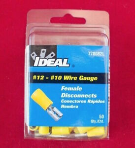 770043L Butt Splice Connector Terminal Yellow Ideal 12 10 awg 50pk
