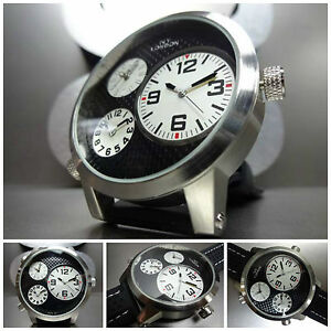 Mens-OVERSIZE-SPORT-MILITARY-3-Multi-Time-Zone-UNIQUE-FASHION-SILVER-WRIST-WATCH