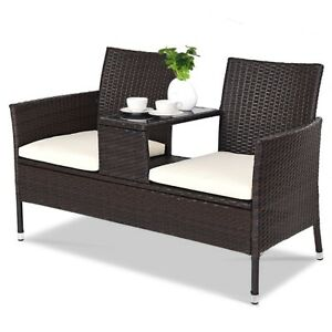 Image Is Loading 2 Seater Rattan Chair Garden Patio Outdoor Furniture
